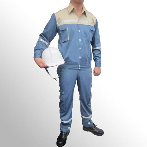 Quần áo bảo hộ lao động pangrim Hàn Quốc phối màu xanh ghi